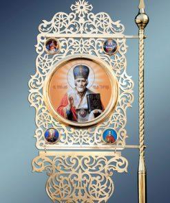 Церковная хоругвь малая с иконой