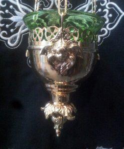 Лампадка подвесная с Ангелом латунь